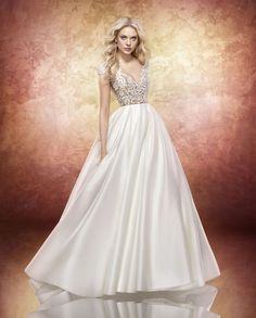 Hayley Paige - 6705 / CHANDLER | Jaehee Bridal Atelier    #ballgown #bateau #illusion #vneck #capsleeve #flowers #floral #embellished #bridal #weddingdress