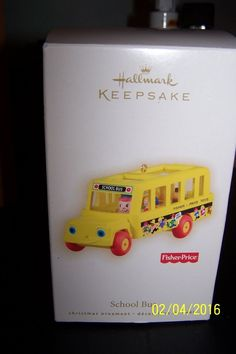 Hallmark 2009 School Bus Fisher Price Ornament-MINT IN BOX Doll Toys, Dolls, Hallmark Christmas Ornaments, Clams, Keepsakes, Fisher Price, Little People, Goodies, Mint