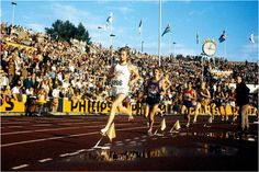 Steve Prefontaine, shown behind former Oregon teammate Arne Kvalheim of Norway, races victory and a new US record in the 3000 meter event of the Oslo Invitational pre-Olympic meet, Bislett Stadium, Oslo, Norway, 3 Aug 1972 | Flickr - Photo Sharing!