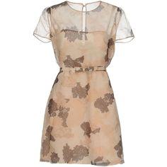Valentino Short Dress ($1,175) ❤ liked on Polyvore featuring dresses, beige, short-sleeve dresses, tent dresses, short sleeve swing dress, valentino dress and short sleeve mini dress