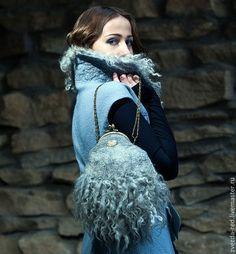 """Купить жилет """"Голубая мечта"""" - голубой, жилет, меховой воротник, авторская ручная работа, образ"""