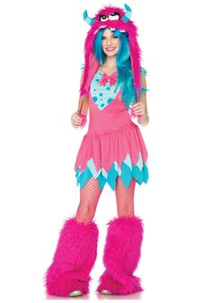 Teen Costumes - This Mischief Monster Sassy Costume from Leg Avenue includes the dress with tiered skirt and the furry monster hood with pom pom ties. Description from costumesplanet.com. I searched for this on bing.com/images