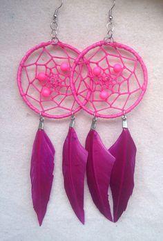 Fuchsia Dreamcatcher Earrings on Etsy, $20.00