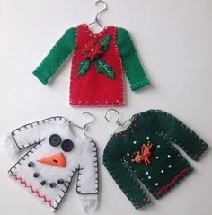 Christmas Sweaters Ugly Christmas sweater ornaments made from felt. Christmas Ornaments To Make, Christmas Sewing, How To Make Ornaments, Felt Ornaments, Christmas Projects, Felt Crafts, Handmade Christmas, Holiday Crafts, Christmas Crafts