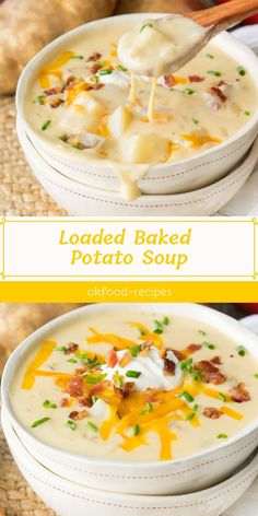 Easy Baked Potato Soup This easy loaded baked potato soup recipe is simple to make, thick, creamy, and hearty. All your favorite baked potato flavors are packed into this comforting and warming meal! Easy Soup Recipes, Crockpot Recipes, Cooking Recipes, Potato Recipes, Cooking Tips, Loaded Baked Potato Soup, Crock Pot Potato Soup, Quick Potato Soup, Potato Bacon Soup