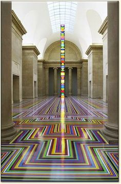 Glasgow-based artist Jim Lambie floor installation.
