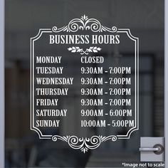 Bakery Open Hours | Stickertitans.com | Custom Business / Office / Shop / Salon / Restaurant Open Hour Vinyl Decal | Hours of Operation | Our Vinyl Signs are made from Oracal 651 | 470-585-2229