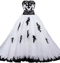 ANTS Women's Strapless Ball Gown Wedding Dresses For Bride With Black Lace, http://www.amazon.com/dp/B01ACWW0QC/ref=cm_sw_r_pi_awdm_zDx8wb0SV010Q