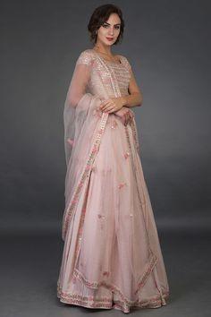Nude Pink Resham and Gota Patti Hand Embroidered Lehenga Party Wear Lehenga, Bridal Lehenga Choli, Indian Lehenga, Pakistani Bridal, Pink Lehenga, Designer Dress For Men, Indian Designer Outfits, Designer Dresses, Indian Wedding Outfits