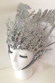 Goddess of AIR - Gemini Headpiece - silver and white - Cosplay, Fantasy on Etsy, $350.00