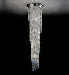 Spiral long chain crystal chandelier