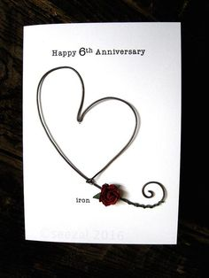 Husband Wife S 1st Marriage Anniversary Wishes, First Wedding Anniversary Quotes, Happy Wedding Anniversary Wishes, Anniversary Ideas, 6 Years, Iron Wire, Husband Wife, Handmade Greetings, Happy Heart