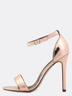b6bc6468037 Shop Metallic Ankle Strap Single Sole Heels ROSE GOLD online. SheIn offers  Metallic Ankle Strap