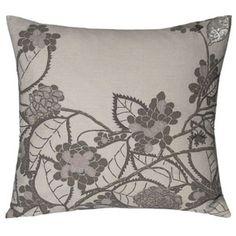 hydrangea linen pillow by kevin o'brien - silver