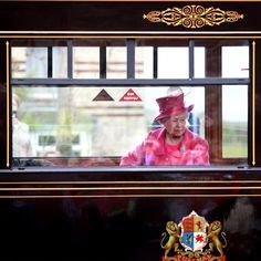 Queen Elizabeth aboard the Royal Train