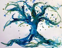 a bit perfect.  watercolor tree.  blues, greens. tattoo