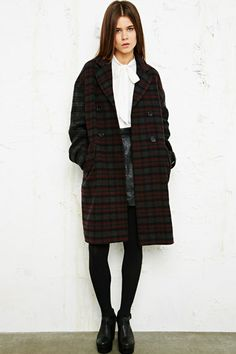 Clash print tartan Cooperative coat for Urban Outfitters #tartan #fashion #trends