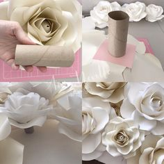 Option 2 you can use paper cups i purchased these at the dollar store glue it on the base of your paper flower or rose paperrosebackdrop paperroses paperrose backdrop paperflowers paperflower diy tutorials handmade handcut tips annnevilledesign – A Paper Flowers Craft, Large Paper Flowers, Paper Flower Wall, Crepe Paper Flowers, Flower Crafts, Diy Flowers, Flower Decorations, Diy Paper Flower Backdrop, Toilet Paper Flowers