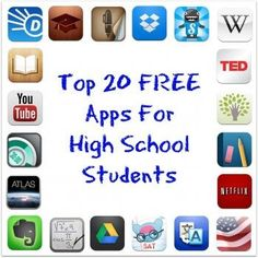Top 20 free apps for high school students collage школа, обу Homeschool High School, High School Apps, High School Counseling, School Counselor, High School Students, School Tips, School Routines, College Students, School Ideas