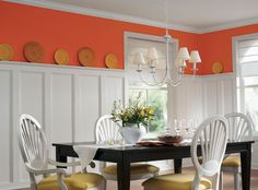 This white dining room was given a vibrant punch of orange that feels modern and just right for the space. - Frivolous BerryB2-1  - Ultra White C4-4 - Jubilee C22-2