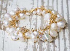Bridal or Bridesmaids Freshwater Pearl and Gold Bracelet Custom