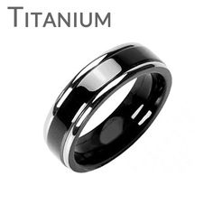 Martini - Double Stripe Black and Solid Titanium Refined Style Two Toned Comfort Fit Ring