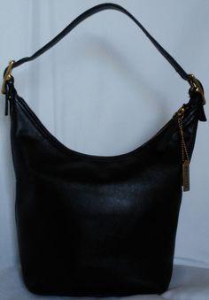 e675b6f12fc Coach Hobo Bag 9823 Black Leather Bucket Shoulder Purse Made In The USA  Medium #Coach