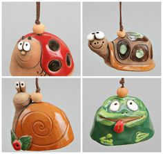 Pequeña campana cerámica: Señora pájaro rana caracol