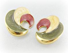 Vintage Big 80s Earrings, Red Green Cream Earrings, Chunky Gold Spiral Earrings, Clip-on Earrings, 1980s Retro Statement Jewelry by RedGarnetVintage, $18.00