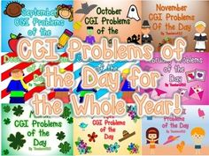 This packet gives students a problem of the day each day of the year to solve in their math notebook. The problem types will be introduced in the following order, and includes 24 problems per month, with the exception of December and May which include 16 problems each:September: students are introduced to Joint Result Unknown (3+6=_), Joint Change Unknown (3+_=9), and Joint Start Unknown (_+6=9)October: Students are introduced to Separating Problems: Separate Result Unknown, Separate Start…