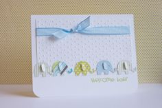 Life in my craft room: Baby Elephants. Martha Stewart Elephant Punch. Baby card using scraps