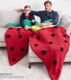 Free Knitting Pattern for Watermelon Wedge Snuggle Sack -Easy pattern for a lap blanket you can slip into from Yarnspirations in two sizes for child and adult.