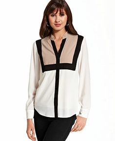 BCX Juniors Top, Long Sleeve Colorblock Blouse