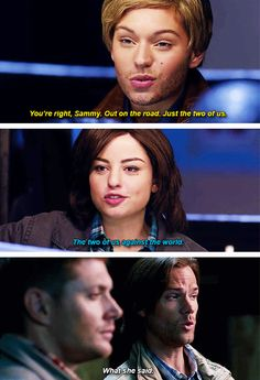 The two of us against the world... What she said [gifset] 10x05 Fan Fiction #SPN #Dean #Sam
