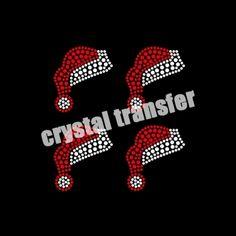 Christmas Dear Santa hat Rhinestone Crystal Transfer