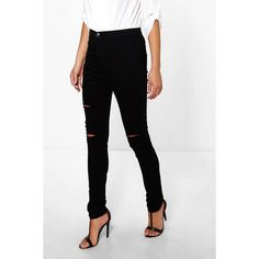 Boohoo Blue Esme High Rise Ultra Rips Tube Jeans (€39) ❤ liked on Polyvore featuring jeans, black, destroyed boyfriend jeans, high waisted skinny jeans, boyfriend jeans, high-waisted jeans and ripped skinny jeans