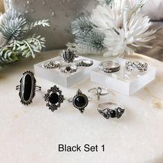 Black Ring Sets - Choose from 3 Sets! Hipster Jewelry, Geek Jewelry, Gothic Jewelry, Body Jewelry, Weird Jewelry, Jewelry Box, Jewelry Necklaces, Women Jewelry, Gel Designs