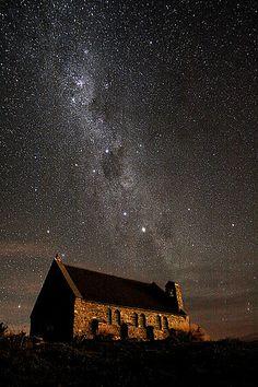Stars over the Church of the Good Shepherd - Lake Tekapo, New Zealand