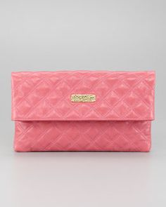 V1BFM Marc Jacobs Eugenia Large Quilted Lambskin Clutch Bag, Bubblegum