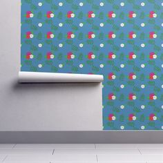 Rose pattern on teal on Isobar by diseniaz Perfect Wallpaper, Design 24, Cloth Napkins, Custom Wallpaper, Textured Walls, Installation Art, Tea Towels, Spoonflower, Teal