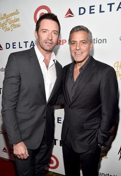"""George Clooney Photos Photos - Actor Hugh Jackman (L) and host George Clooney attend the MPTF 95th anniversary celebration with """"Hollywood's Night Under The Stars"""" at MPTF Wasserman Campus on October 1, 2016 in Los Angeles, California. - MPTF Celebrates 95th Anniversary With 'Hollywood's Night Under the Stars' - Red Carpet"""
