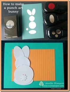 How to make a punch art bunny instructions Paper Punch Art, Punch Art Cards, Craft Punches, Scrapbook Cards, Scrapbooking, Card Making Techniques, Paper Cards, Creative Cards, Homemade Cards