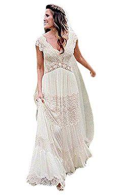 Ellenhouse Women's V-Neck Boho Wedding Dresses Bohemian Lace Bridal Gowns  at Amazon Women's Clothing