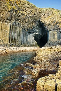 Fingal Cave is a sea cave on the uninhabited island of Staffa, Scottland, UK. Places Around The World, Oh The Places You'll Go, Places To Travel, Places To Visit, Around The Worlds, Fingal's Cave, Sea Cave, Formations Rocheuses, Voyage Europe