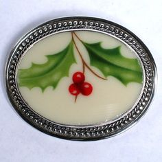 Lenox Holiday Pattern Holly Pin Brooch.  Made from a portion of an actual plate set in sterling silver!  www.vbelle.com,  $128