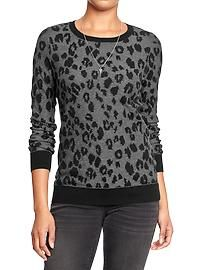 Women's Leopard-Print Crew-Neck Sweaters Just bought this