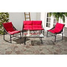 Safavieh Berkane Brown Rattan and Red Fabric 4-piece Outdoor Set