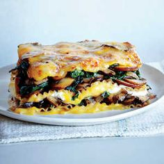 This is a satisfying vegetarian lasagna that contains hearty butternut squash, swiss chard, and mushrooms. The drizzled on sauce is ...