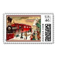 Vintage Christmas Train Station Postage - Created By MagnoliaVintage Christmas Gifts For Women, Vintage Christmas Cards, Victorian Christmas, Christmas Train, Christmas Diy, Christmas Things, Merry Christmas, Great Works Of Art, Vintage Stamps