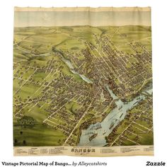 Vintage Pictorial Map of Bangor Maine (1875) Shower Curtain